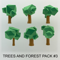 cartoon trees forest pack 3d obj