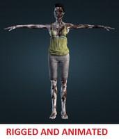 3d model female zombie