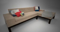 west elm lorimer sofa chaise 3d max