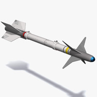 aim-9 sidewinder missile 3d model