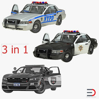rigged police cars 3d model