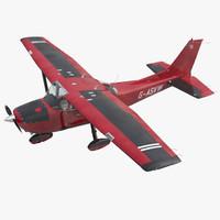 3d model cessna 172 red