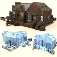 old wild west buildings 3d 3ds