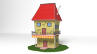 cartoon home toon 3d model