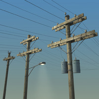 3d electric pole wood