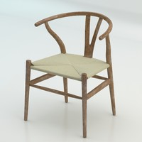 The high quality Scandinavian Wishbone Chair CH24 High Poly model in Brown Wood