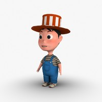 boy cartoon hat 3d dxf