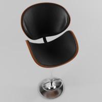Crocus Walnut and Black Modern Bar Stool