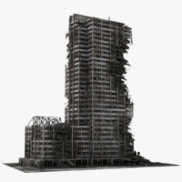3d model destroyed ruined building skyscrapers