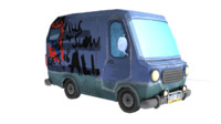 free obj model cartoon minibus