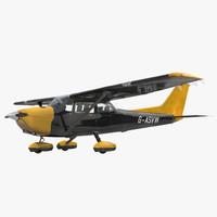 3d model cessna 172 black