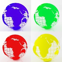 earth globe color 3d max