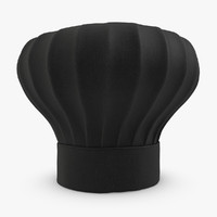 obj realistic chef hat black