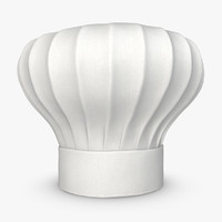 realistic chef hat white obj