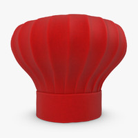 realistic chef hat red 3d max
