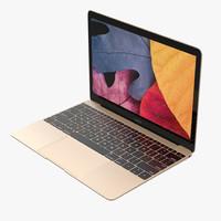 apple macbook gold 3d model