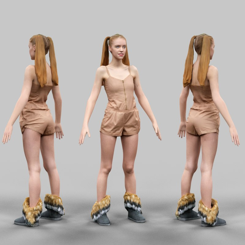 3D Model Download Virtual Girl in Beige Jumpsuit and Duoble Ponytails A-Pose_030.png