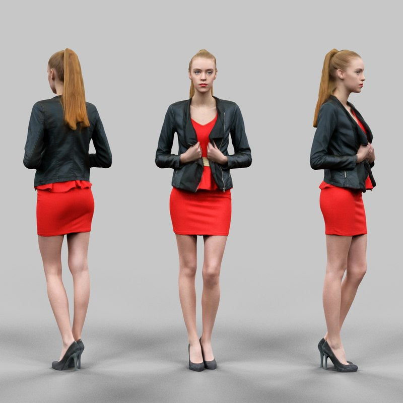 3D Model Download Virtual Woman in Red Dress Golden Belt  heels and holding Leather jacket Open_036.png