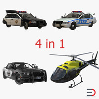 3d police vehicles rigged model