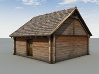 Middle Age Wooden Block House