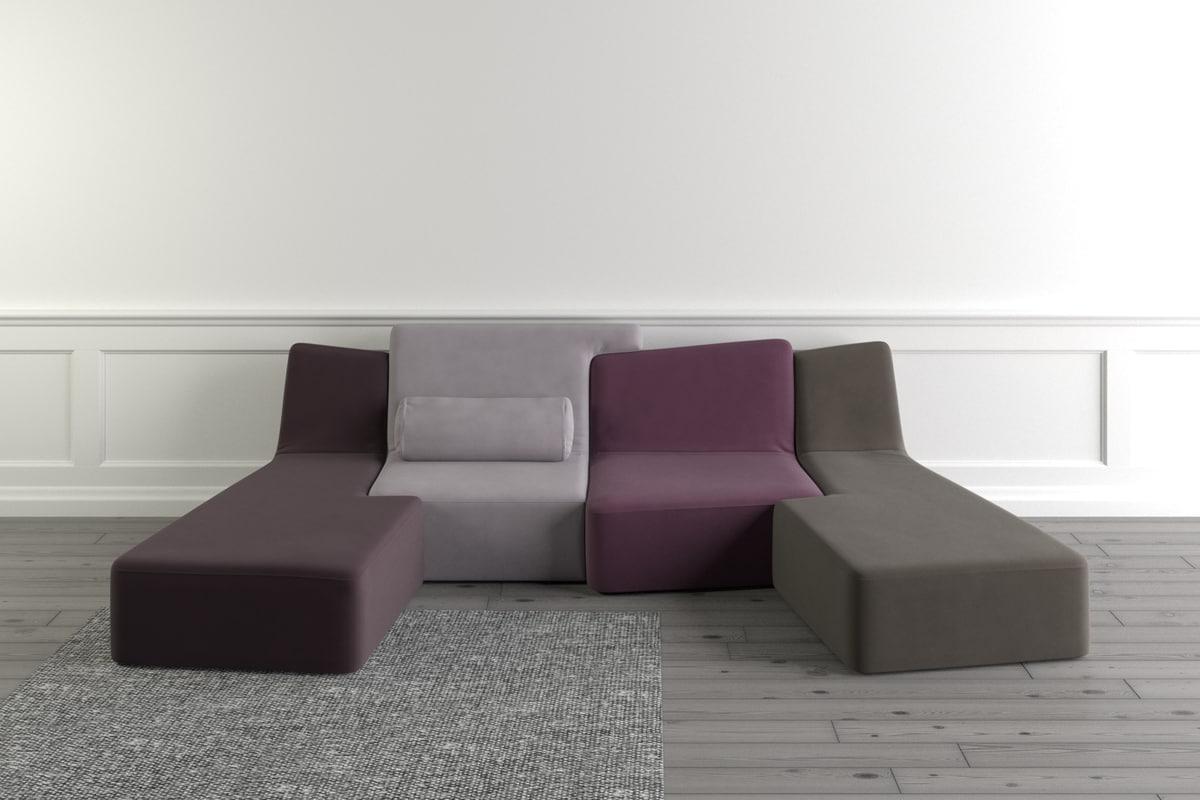 3d ligne roset confluences sofa seat. Black Bedroom Furniture Sets. Home Design Ideas