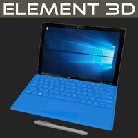 3d realistic element microsoft pro 4 model