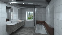 3d modern bathroom model