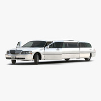 3d model stretch car limousine white