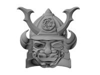 3d helmet mask samurai