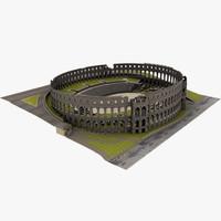 roman amphitheater arena pula 3d model