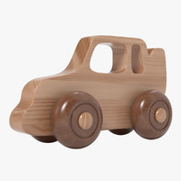 3d model wooden car toy realistic wood