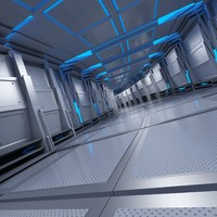 sci-fi tunnel curve breathing 3d max