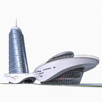 modern office building glass 3d model