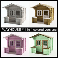 3d model wooden playhouse using child