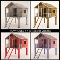 wooden playhouse stilts using 3d model
