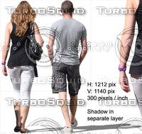 Cut out young couple walking in the city (back view)