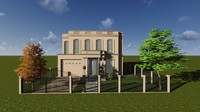 residential house classical elements 3d model