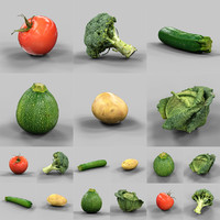 6 vegetables 3d obj
