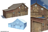 3d old wild west barn