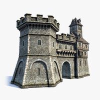 3d model medieval fantasy town gate