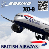 3d model of boeing 787-9 british airways