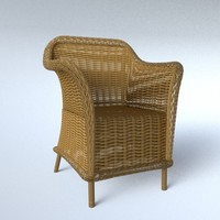 wicker chair 3d blend