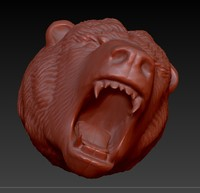 angry bear head obj