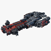 3d model heavy frigate scifi