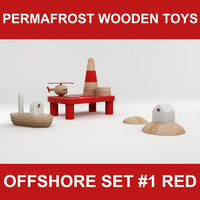 wooden toy offshore set 3d 3ds