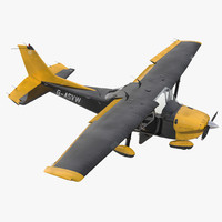 3d model of cessna 172 black rigged