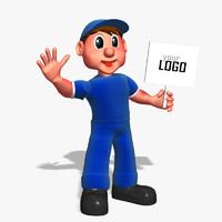 cartoon worker 3d max