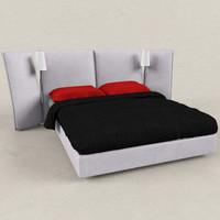 3d max bedcloth bed ligne roset