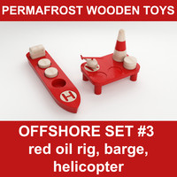 3d model wooden toy offshore set