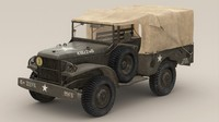 wc-51 dodge truck wwii 3d model